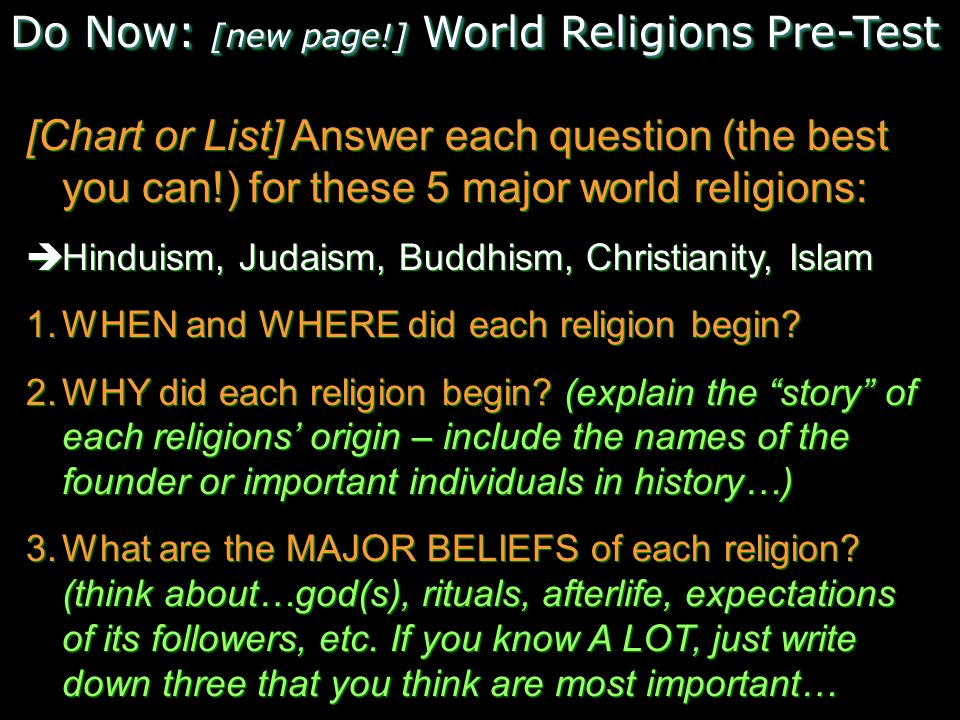 Do Now New Page World Religions PreTest Ppt Download - List of major religions